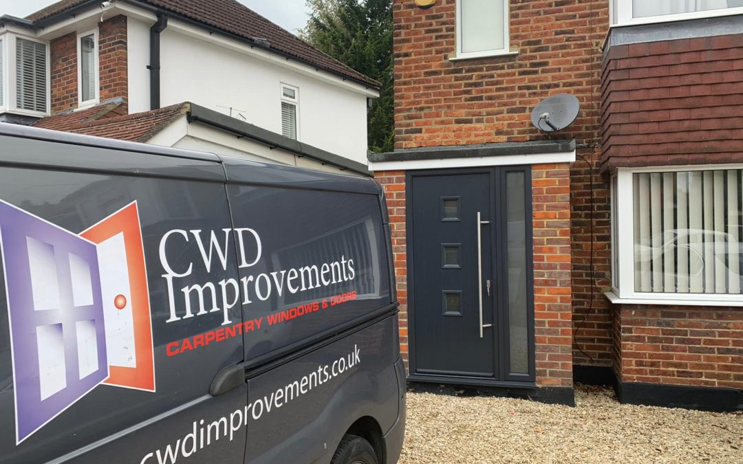 CWD Improvements van in front of a newly fitted composite door